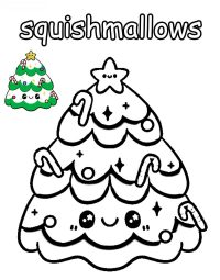Happy Christmas from Squishmallow Coloring Page