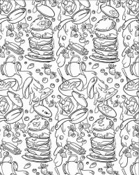 Many delicious food from Squishmallow Coloring Page