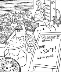 Grocery store of Squishmallow animals Coloring Page