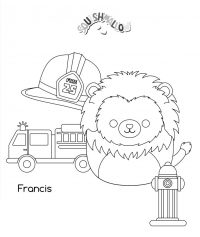 Squishmallow Francis the Lion want to be a firefighter Coloring Page