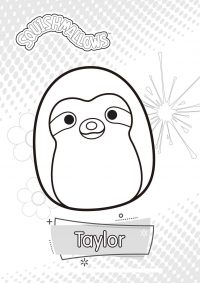A rainbow Squishmallow named Taylor the Tie-Dye Sloth Coloring Page