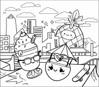 Squishmallow Maui the Pineapple and Scarlet the Strawberry eats ice cream Coloring Page