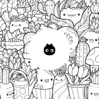 Squishmallow Fruits and Vegetables Coloring Page