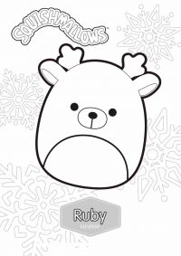 Ruby the Reindeer from Squishmallow Christmas Squad Coloring Page