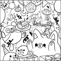 12th Birthday Party for Squishmallow Coloring Page