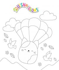 Squishmallow Cora the cat enjoys parachute jump Coloring Page