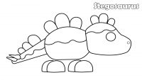 The Stegosaurus features rounded plates along its head, back, and spikes on its tail in Adopt me Coloring Page