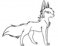 Cartoon stylish wolf Coloring Page