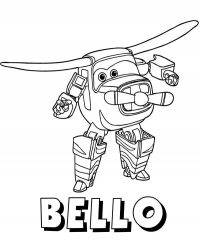 Transforming robot Bello from Super Wings Coloring Page