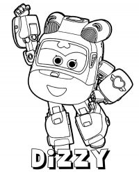 Cute Dizzy transforms robot in Super Wings Coloring Page