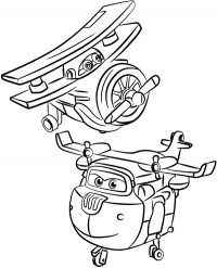 Grand Albert and Donnie from Super Wings Coloring Page