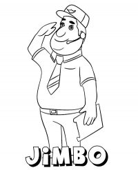 Jimbo wears a hat with an airplane badge from Super Wings Animation Coloring Page
