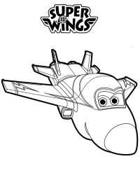 A Male Acrobatic War Jet Plane Named Jerome From Super Wings Coloring Page