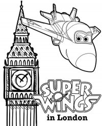 Jett from Super Wings flies to London Coloring Page