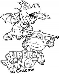 Jett and Fire Dragon Flies play together in Super Wings Cracow Coloring Page