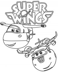 Jett enjoys playing with Donnie in Super Wings Coloring Page