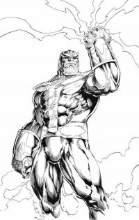 Warrior Thanos from Titan in the Avengers absorbs cominic energy Coloring Page