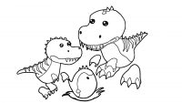 Adopt me the T-Rex family and an egg Coloring Page