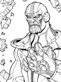 Angry Thanos brings Infinity Gauntlet Coloring Page