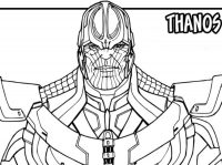 A portrait of Thanos wears a strong metal of armor Coloring Page