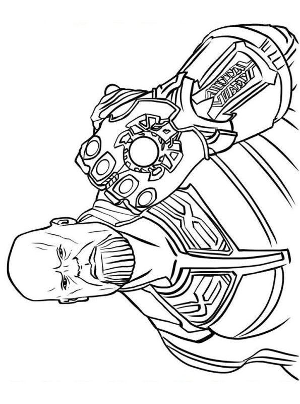Thanos from Avengers Infinity War has a Infinity Gauntlet Coloring Pages