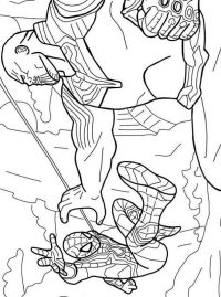 Thanos Fights To Spiderman In Avengers Endgame Coloring Page