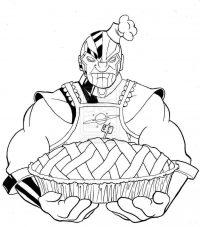 Thanos as a chef when he baking an apple pie Coloring Page