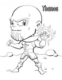 Chibi Thanos from the Avengers used Infinity Gauntlet to project a vast of cominic energy Coloring Page