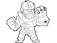 Chibi cute Thanos with Infinity Gauntlet from Avengers Coloring Page