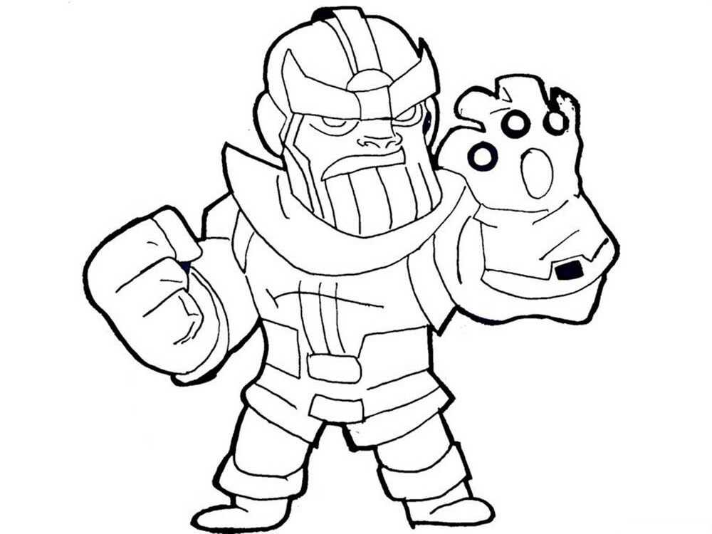Chibi cute Thanos with Infinity Gauntlet from Avengers Coloring Pages