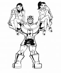 Thanos from the Avengers lifted two girls up Coloring Page