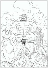Lord Thanos defeated Spider man and Hulk from the Avengers Endgame Coloring Page