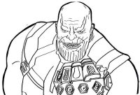 Thanos old version and his punch with Infinity Gauntlet Coloring Page