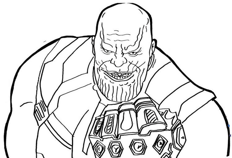 Thanos old version and his punch with Infinity Gauntlet Coloring Pages