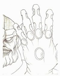 The six infinity gems on the single gauntlet of Thanos from the Avengers Coloring Page