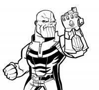 Thanos in Avengers Endgame performs his strength by using Infinity Gauntlet Coloring Page