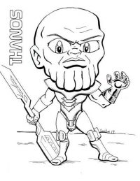Chibi Thanos holds a double-edged sword from Avengers Infinity War Coloring Page