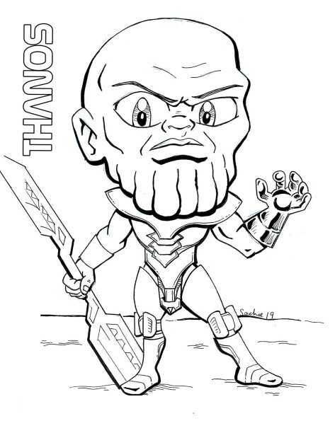 Chibi Thanos holds a double-edged sword from Avengers Infinity War Coloring Pages