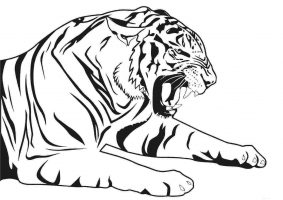 Tiger is lying and roaring in the forest Coloring Page
