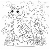 Female tiger is sitting comfortably in the forest Coloring Page
