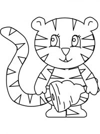 A tiger cub holds a turkey drumstick Coloring Page