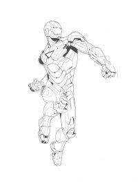 Iron man prepares to jump up and hit to the punch Coloring Page