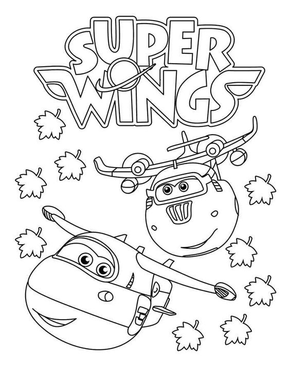 Jett and Donnie fly together in Fall from Super Wings Coloring Page