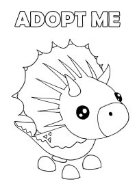 The Triceratops features dinosaur pet with three white horns on its head and snout in Adopt me video games Coloring Page