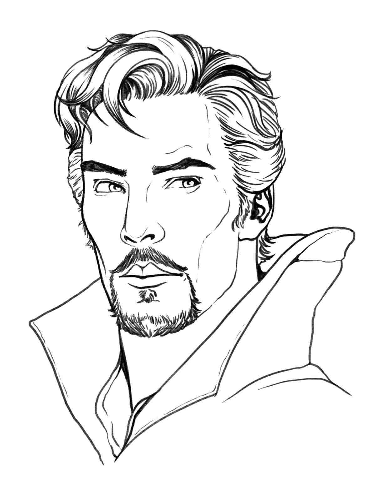 Drawing Head of Dr.Strange art Coloring Pages