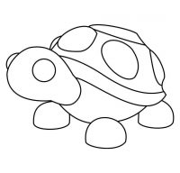 The Turtle from Adopt me carries a half circle-shaped shell on its back Coloring Page