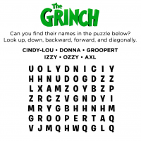 The Grinch Word puzzle Coloring Page