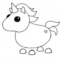 The Unicorn in Adopt me has a horn on its head Coloring Page