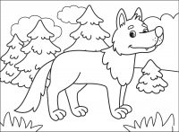 Cartoon wolf walks around in the forest Coloring Page