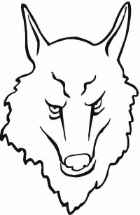 Dangerous Symbol wolf head Coloring Page